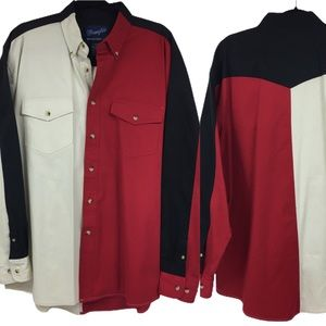 WRANGLER • Vintage Color Block Button Down Shirt